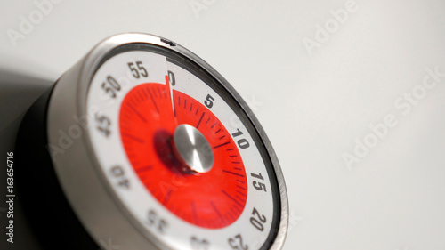 Classical Vintage Kitchen Countdown Timer Close Up Shot With Analog