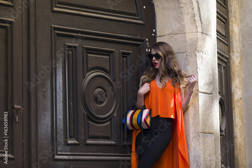 Elegant woman with sunglasses and bag Poster