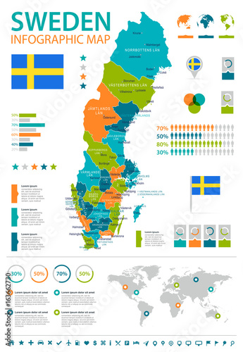 Sweden - infographic map and flag - illustration Canvas Print