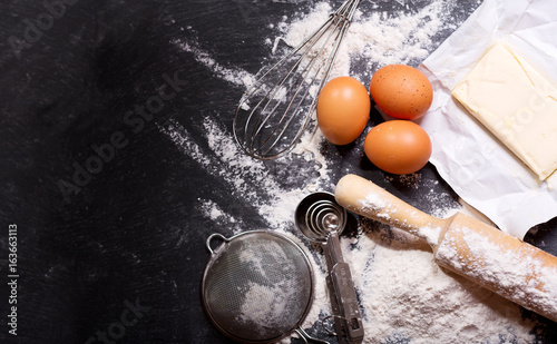 Photo ingredients for baking and kitchen utensils