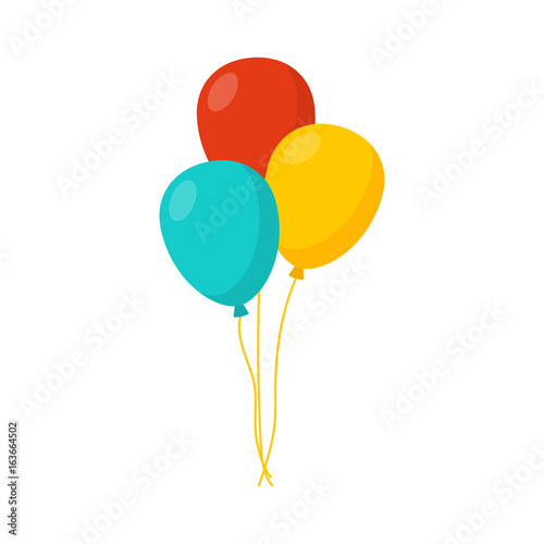 Obraz na plátně  Bunch of balloons in cartoon flat style isolated on white background