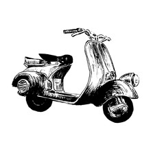 Vintage Motor Scooter. Vector Illustration, Hand Graphics - Old Turquoise Scooter. Italy