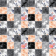 FototapetaAbstract squares seamless pattern: watercolor, ink doodle flowers, leaves, weeds.