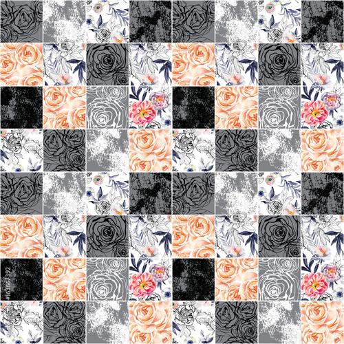 abstrakcyjne-kwadraty-powielany-wzor-akwarela-atrament-natura-kwiaty-liscie-chwasty