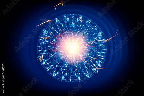 Valokuva  Structure of Nucleus of Atom Nuclear ignition of inner core atomic bomb hot ray radiation light science model illustration concept