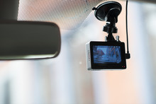 A Car Dash Cam Mounted On The ...