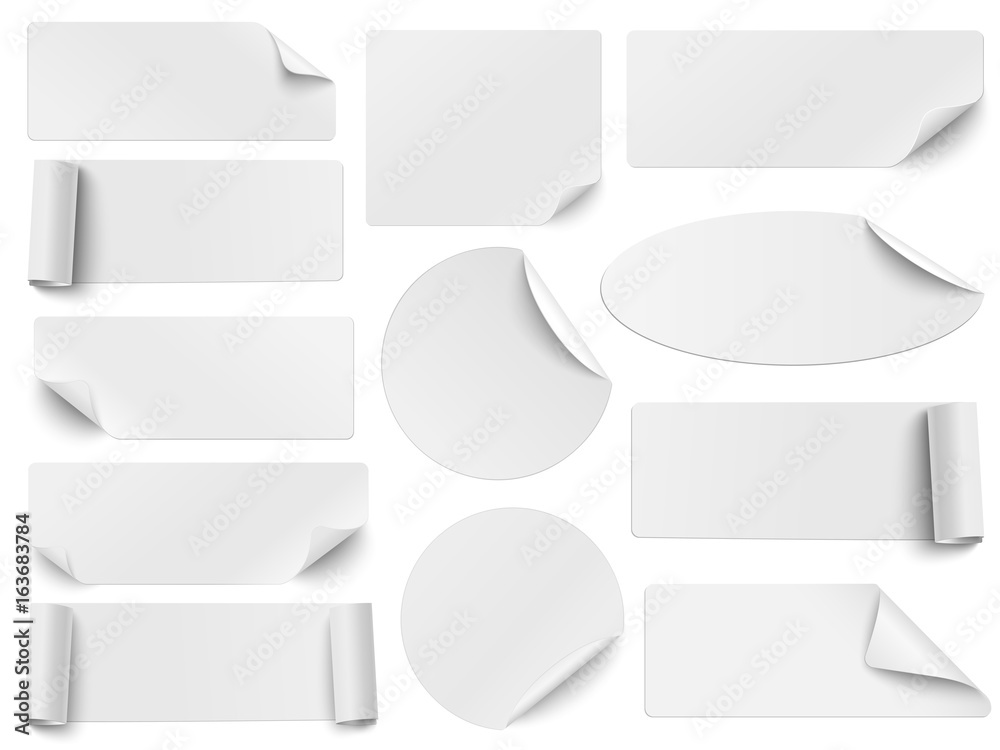Fototapety, obrazy: Set of white paper stickers of different shapes with curled corners isolated on white background. Round, oval, square, rectangular shapes. Vector illustration.