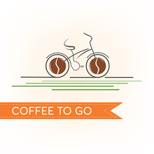 Coffee Bicycle Logo Vector Ill...
