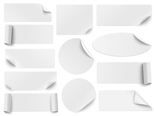Set Of White Paper Stickers Of...