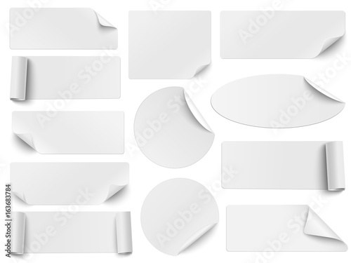 Fotografia  Set of white paper stickers of different shapes with curled corners isolated on white background