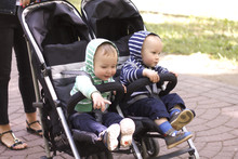 Two Boy Twins In A Stroller In...
