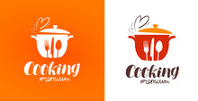 Cooking, Cuisine, Cookery Logo. Restaurant, Menu, Cafe, Diner Label Or Icon. Vector Illustration