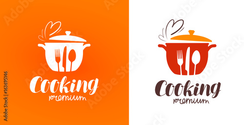 Fototapeta Cooking, cuisine, cookery logo. Restaurant, menu, cafe, diner label or icon. Vector illustration obraz