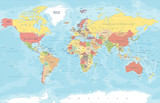 Vintage Colored World Map - Vector Illustration - 163697962