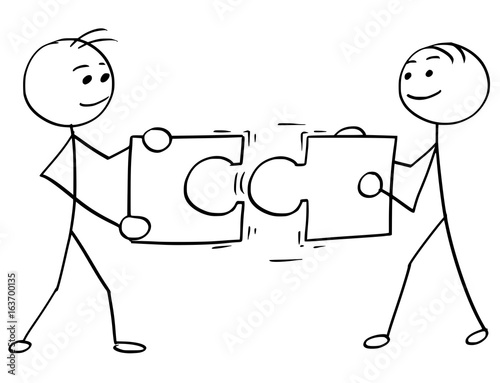vector stick man cartoon of two men holding a large jigsaw puzzle