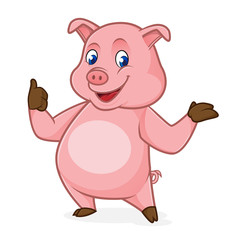 Pig cartoon smiling and giving thumb up
