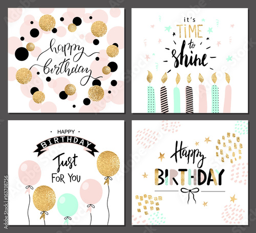 Photo  Happy birthday greeting cards and party invitation templates with lettering text