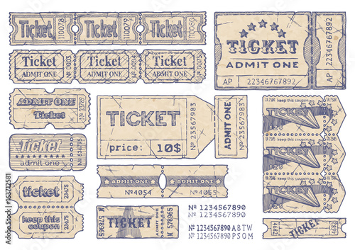 Fotografie, Obraz  Retro tickets set