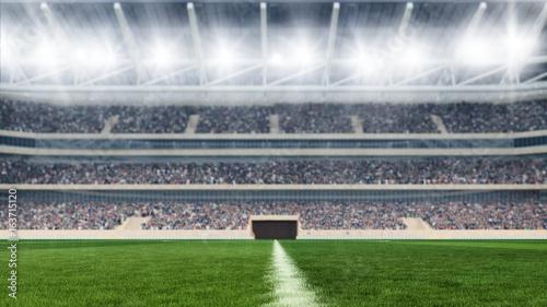 Obraz na płótnie boisko do piłki nożnej z świateł i widowisk panoramy 3d renderingiem