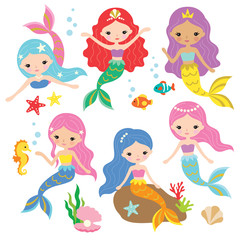 Vector illustration of cute mermaid princess with colorful hair and other und...
