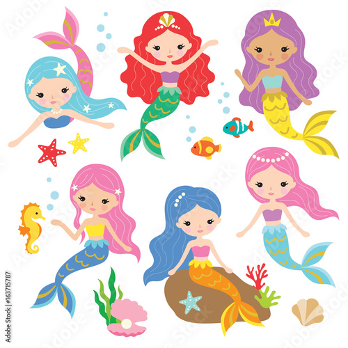 Fotografie, Tablou Vector illustration of cute mermaid princess with colorful hair and other under the sea elements
