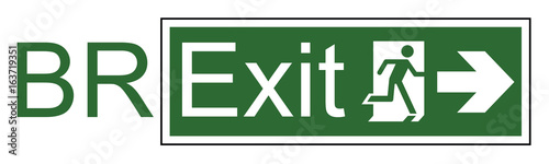 Fotografering  Brexit exit sign representing the United Kingdom exit from the European Union
