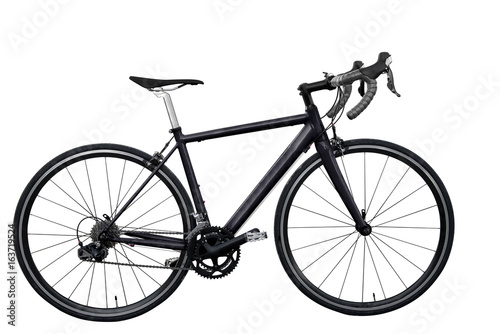 In de dag Fiets black road bike isolated on white background isolated
