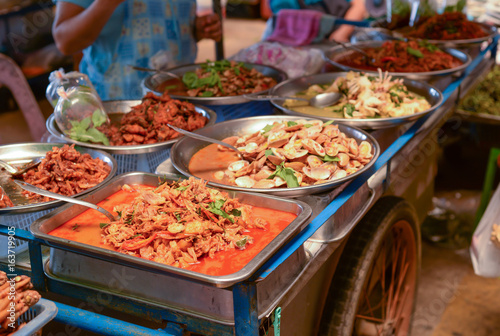 Thai street food on barrow in fresh market.