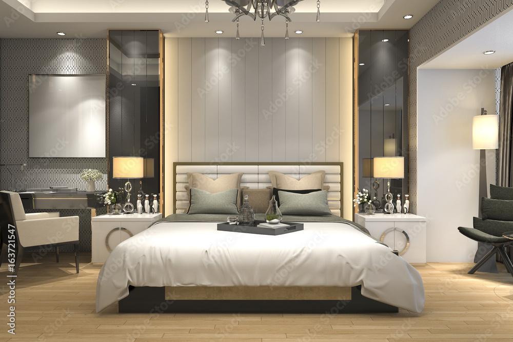 Fototapeta 3d rendering luxury modern bedroom suite in hotel