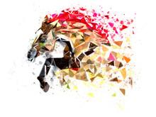 Horse Low Polygon In Watercolo...