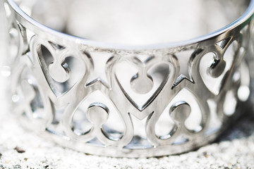 Silver bracelet with hearts...