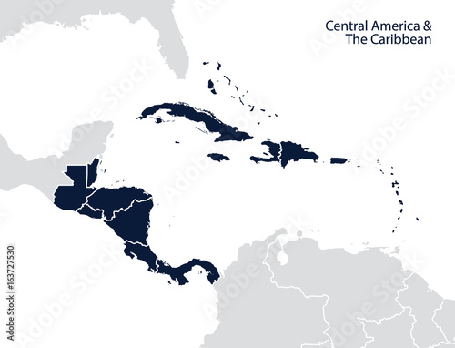 Central America and the Caribbean map – kaufen Sie diese ...