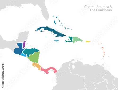 Fotografia, Obraz  Central America and the Caribbean map