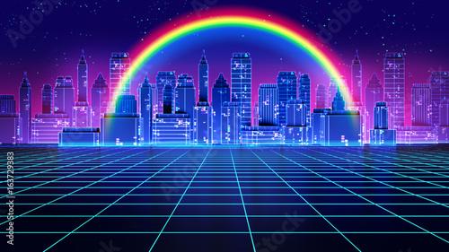 Fototapeta Retro futuristic background 1980s style 3d illustration. obraz na płótnie