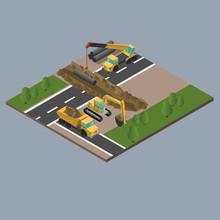 Yellow Big Digger Builds Roads...