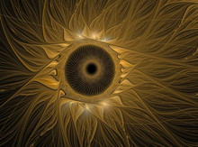 Abstract Fractal Flower Computer Generated Image. Gold Sunflower On Black Background