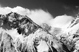 Black and white view of winter snow mountains in cloud - 163733158