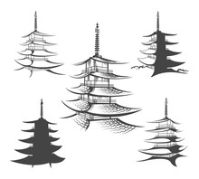 Asian Hand Drawn Pagoda Vector...