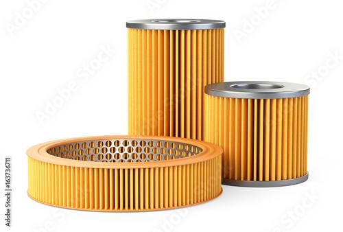 Fotografía  Car filters set, close-up 3d illustration.