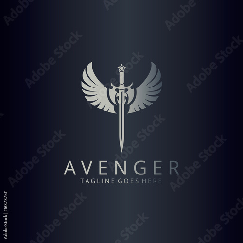 avenger logo angel sword logotype buy this stock vector and