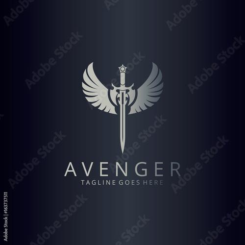 Photo Avenger logo. Angel sword logotype