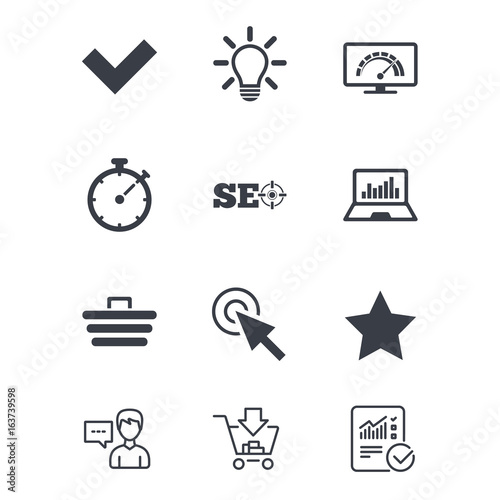 Internet, seo icons  Bandwidth speed, online shopping and tick signs