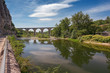 The bridge over the Ardeche river near the village of Vogue in the Ardeche region