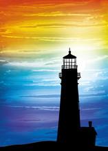 Lighthouse On The Sunset