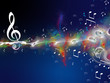 Notenschlüssel und Musiknoten tanzen in einer farbigen Welle