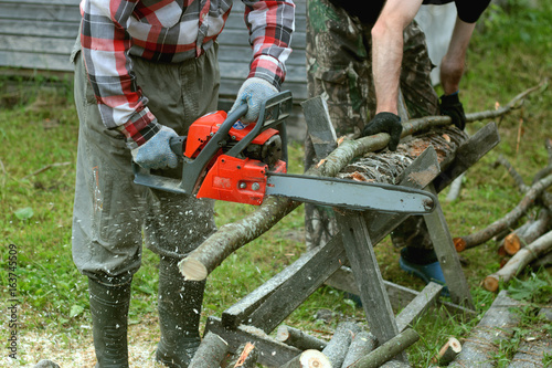 In de dag Brandhout textuur chop wood Chainsaw