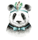 Watercolor panda illustration. Bohemian cute animal. Boho style. - 163746573