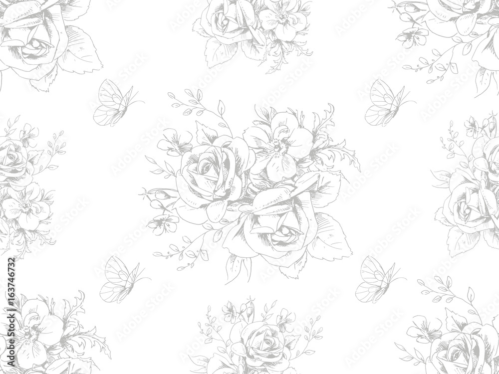 Fototapety, obrazy: Seamless beautiful pattern with floral motivies and butterflies in French style 4