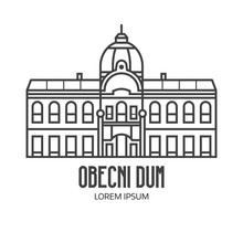 Prague Municipal House Logo Or Label Template In Line Art Design. City Hall Obecni Dum Logotype In Linear Style.
