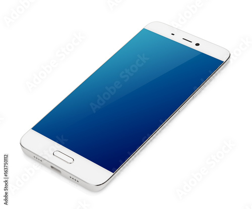 Fotografie, Obraz  Modern white smartphone with blue screen lying isolated on white background